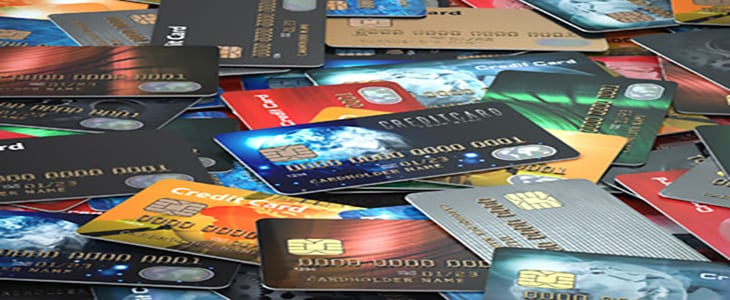 Pile of colored credit cards background, 3d illustration
