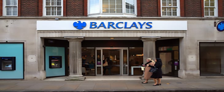 London, England - February 04, 2016: People passing by or entering Barclays Bank in Richmond, London. Barclays provide services for an estimated 48m customers and clients worldwide