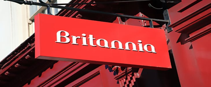 London, United Kingdom, Mar 19, 2011 : Britannia Building Society's red sign hanging outside one of its branches in the City of London. Britannia is a financial service institution and a trading name of the Co-Operative Bank.