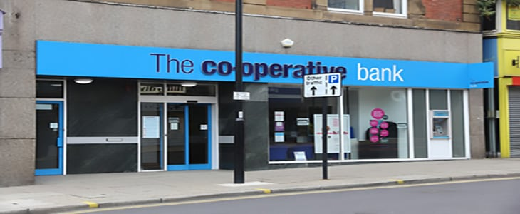 SHEFFIELD, UK - JULY 10, 2016: The Co-operative Bank branch in Sheffield, Yorkshire, UK. The bank is part of The Co-operative Group employing 70,000 people.