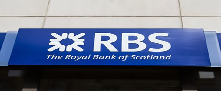London, UK - June 18th, 2015: A sign for a branch of The Royal Bank of Scotland in London on 18th June 2015.